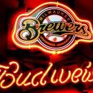 "Brand New BUDWEISER Milwaukee Brewers Beer Bar Pub Neon Light Sign 16""x15"" [High Quality]"