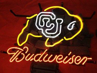 """Brand New Budweiser CU Buffs Colorado Buffalo Beer Bar Neon Light Sign 16""""x 13"""" [High Quality]"""