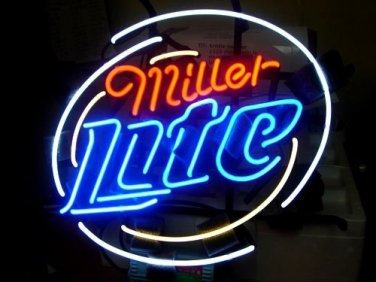 "Brand New MILLER LITE Logo Beer Bar Neon Light Sign 16""x 16"" [High Quality]"