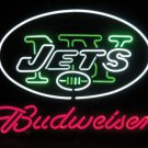 "Brand New Budweiser NFL New York Jets Beer Bar Neon Sign 16""x 14"" [High Quality]"