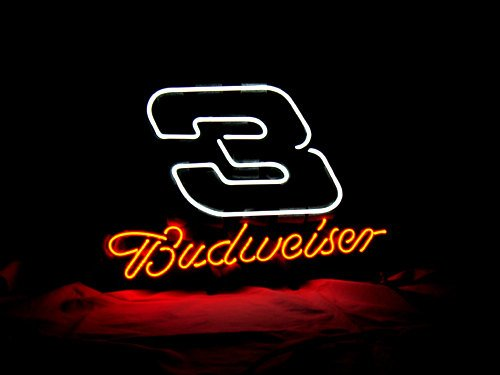 "Brand New BUDWEISER Beer Nascar 3 Racing Neon Sign 17""x 15"" [High Quality]"