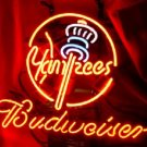 "Brand New Budweiser New York Yankees MLB Beer Bar Pub Neon Light Sign 14""x 8"" [High Quality]"