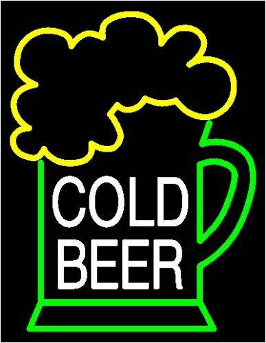 "Brand New Cold Beer Bar Real Glass Tube Neon Light Sign 17""x 15"" [High Quality]"