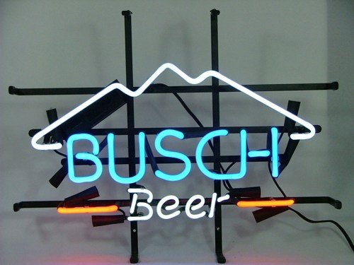 "Brand New Busch Light Mountain Logo Beer Bar Pub Neon Sign 17""x15"" [High Quality]"