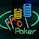 "Brand New Casino Cards Poker Ace Coin Lucky Table Bar Neon Light Sign 16""x 14"" [High Quality]"