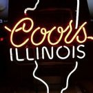 "Brand New Coors Light Illinois Beer Bar Neon Light Sign 16""x 14"" [High Quality]"