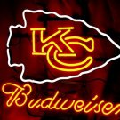 "Brand New NFL Kansas City Chiefs Budweiser Beer Neon Sign 16""x15"" [High Quality]"