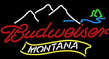 "Brand New Montana Mountain Budweiser Neon Light Sign 16""x14"" [High Quality]"