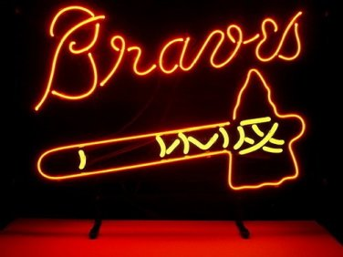 "Brand New MLB Atlanta Braves Baseball Beer Bar Neon Sign 17""x 14"" [High Quality]"