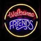 "Brand New Welcome Friends Handmade Beer Bar Club Neon Sign 16""x16""[High Quality]"