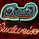"Brand New Budweiser Beer Miami Dolphins Neon Light Sign 14""x8""[High Quality]"