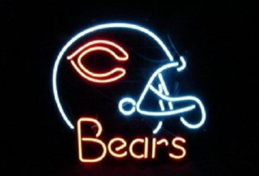 "Brand New Chicago Bears Helmet NFL Football Beer Bar Neon Light Sign 18""x16"" [High Quality]"