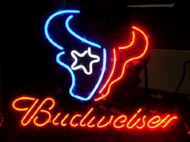 "Brand New Budweiser Beer NFL Houston Texans Beer Bar Neon Light Sign 16""x15"" [High Quality]"