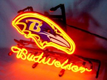 "Brand New NFL Baltimore Ravens Budweiser Beer Bar Pub Neon Light Sign 13""x8"" [High Quality]"