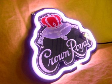 "Brand New Crown Royal 3D Beer Bar Purple Neon Light Sign 10""x8"" [High Quality]"
