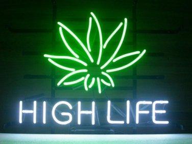 "Brand New High Life Cannabis Marijuana Leaf Neon Light Sign 18""x15"" [High Quality]"