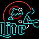 "Miller Lite NFL Miami Dolphins Football Helmet Beer Neon Light Sign 21""x19"" [High Quality]"