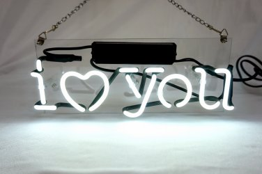 "'I Love You' Beer Bar Pub Art Banner Real Neon Light Sign 12""x5"" [High Quality]"