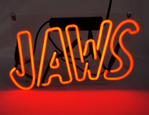 """Brand New 'JAWS' Hand Craft Home neon Beer Pub Light bar sign 12""""x7"""" [High Quality]"""
