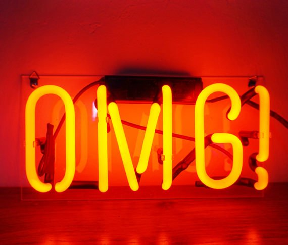 "Handmade 'OMG' Oh My God Wedding Beautiful Banner Art Light Neon Sign 12""x6"""