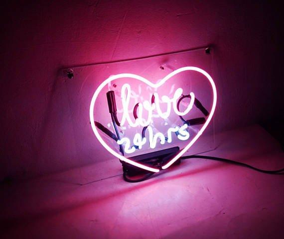 "Handmade 'Love 24hrs' Outdoors Neon Sign Light Room Artwork 15""x10"""