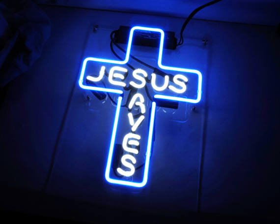 "Handmade 'Jesus Aves' Art Light Beautiful Banner Home Neon Sign 12""x9"""