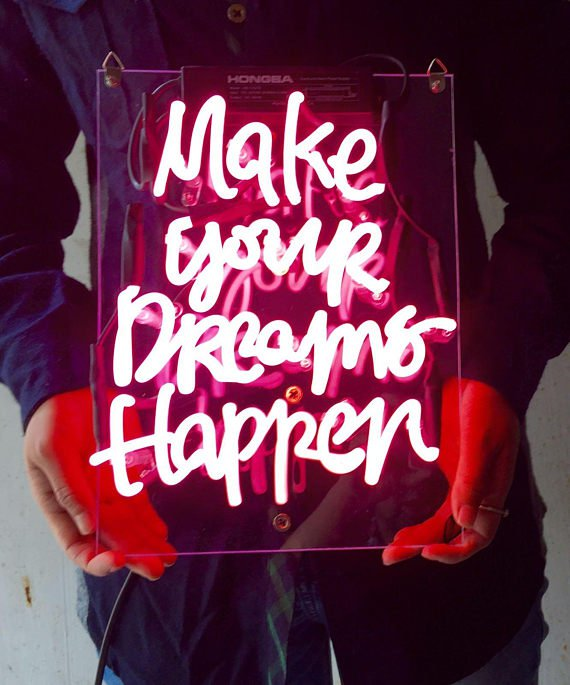 """New 'Make your dreams happen' Home Wall Lamp Art Gift Neon Light Sign 11""""x7"""""""