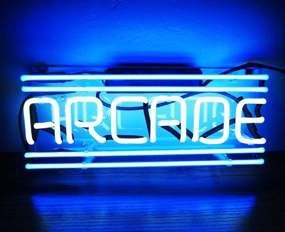 "Handmade 'Arcade' Game Room Banner Art Neon Light Sign 12""x5"""