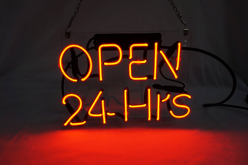 "New 'Open 24 Hrs' Beer Bar Pub Art Window Display Real Neon Light Sign 10""x8"""