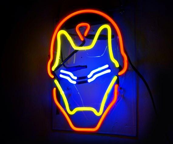 "Handmade 'Iron Man' Superhero Movie Banner Art Light Neon Sign 12""x9"""