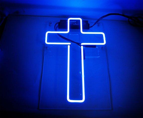 """Handmade 'Cross' Art Light Religion Banner LED Neon Light Sign 11""""x8"""""""