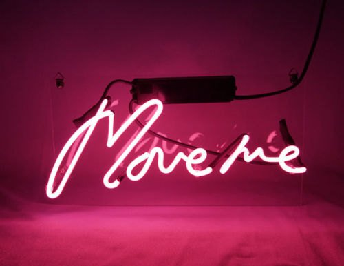 "New 'Move me' Wedding Sweet Decor Banner Art Sign Real Neon Light Sign 12""x7"""