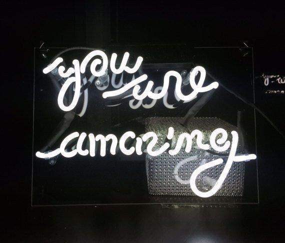 """Handmade 'You are Amazing' Beautiful Art Banner Handmade Neon Sign 11""""x8"""""""