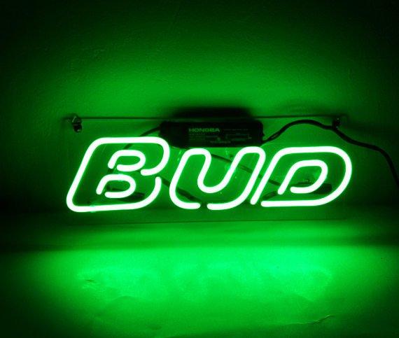 "Handmade 'BUD' Cocktail Art Light Banner Beer Bar Pub Decor Neon Sign 14""x9"""