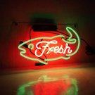 "Handmade 'Fresh' Fresh Clam Seafood Lobster Business Banner Art Light Neon Sign 15""x10"""
