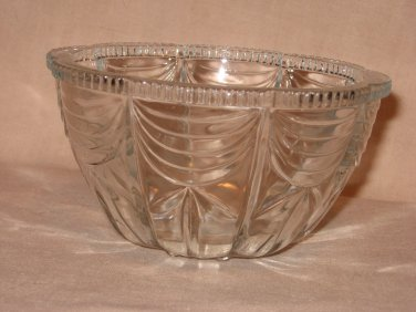 Clear Crystal Deep Glass Bowl Dish Indonesia Sawtooth Drape Scallop