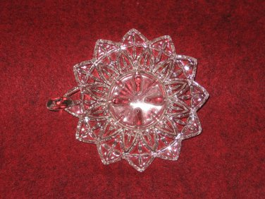 Crystal Candle Holder Art Glass Clear Tab Handle Sunflower Star Burst