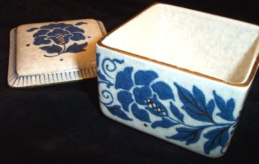 Charlotte Rhead Trinket Box Bursley Ware Vintage Carnation