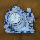 Victorian Style Porcelain Linden Clock Figurines Wind Up