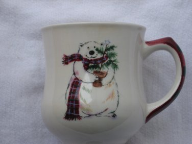 Polar Bear Christmas Mug Cup Heavy Ceramic Pfaltzgraff