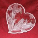 Mikasa Nadine Heart Glass Dish Frosted Tulip Candy Jewelry Trinket