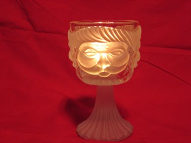 3 Faces Bearded Old Man Frosted Glass Goblet Candle Holder Heavy