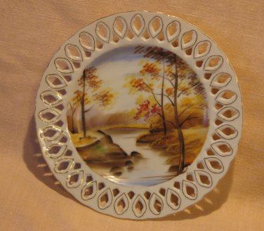 Rossetti Plate USA Fretwork Hand Painted Sango Japan Landscape Creek