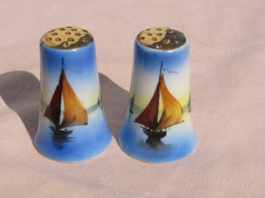Hand Painted Salt and Pepper Shakers Vintage Nautical
