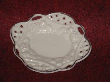 White Trinket Tray Dish Gold Trim Ceramic Holder