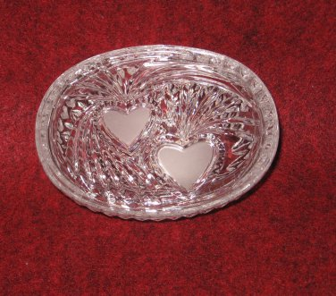 Clear Pattern Glass Oblong Trinket Jewerly Box 4 inches Hearts