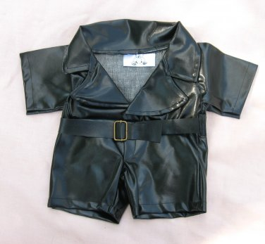 Black Vinyl Belted Jumpsuit Bear Label Clothing