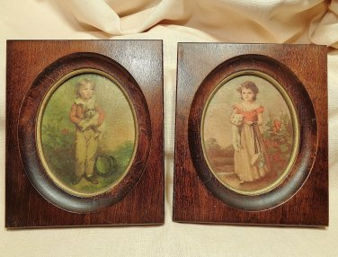 Jane Freeman Chums Wood Frame 2 Pictures 5.5 x 6.5 Edward Gross