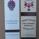 Vintage Lot (2) Canadian Military Halifax Fort Osborne 20 Strike Matchbook Cover