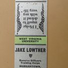 Morgantown West Virginia WV Res. Officers Vintage 20 FS Military Matchbook Cover